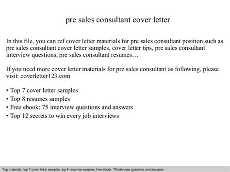 Pre Sales Consultant Cover Letter by Pre Sales Consultant Cover Letter