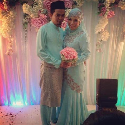 Baju Nikah Biru Lembut fesyen kahwin contoh rekaan terkini baju pengantin lelaki wanista