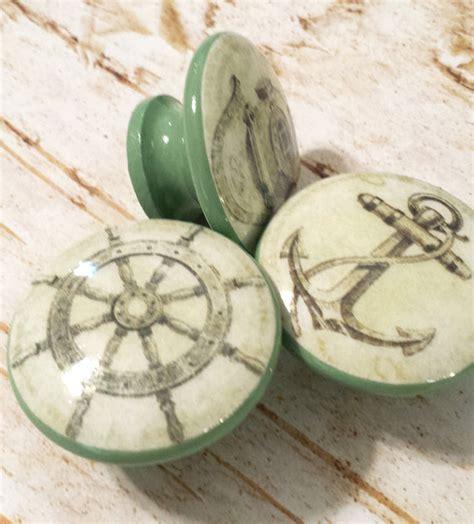 etsy nautical drawer pulls handmade nautical knobs drawer pull set 3 green vintage