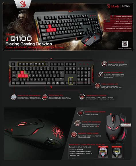 Bloody Keyboard Mouse Bundle Q1100 Blazing Keyboard a4tech bloody q1100 winner gaming blazing destop