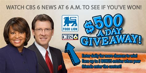 Food Lion Giveaway - cbs 6 food lion gift card giveaway sweepstakes official rules wtvr com