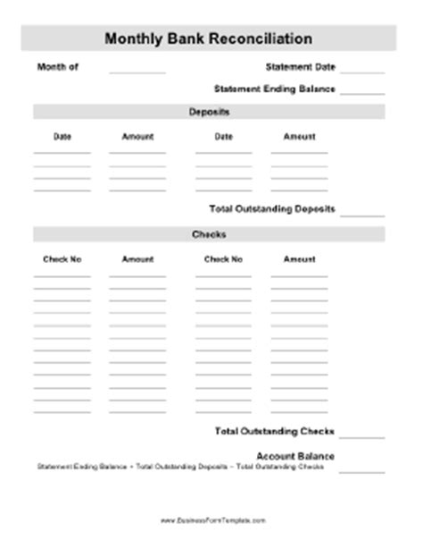 Monthly Bank Reconciliation Template Monthly Reconciliation Template