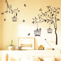 wall picture stickers happy street lights birds with tree wall sticker