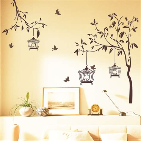 wall stickers home decor happy street lights birds with tree wall sticker home