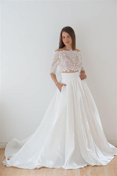 Crop Top wedding dress satin wedding dress lace top lace
