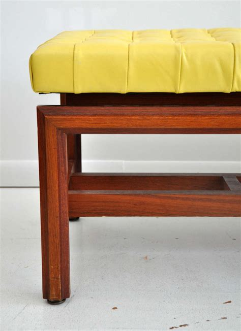 yellow tufted bench vintage tufted yellow leather bench at 1stdibs