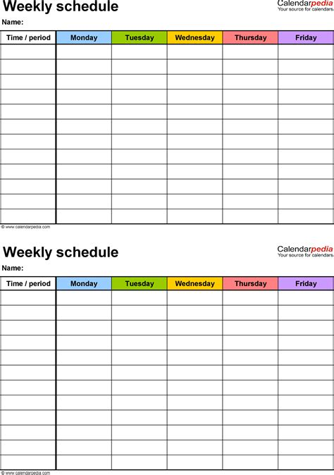 school weekly planner template weekly schedule template for excel version 3 2 schedules