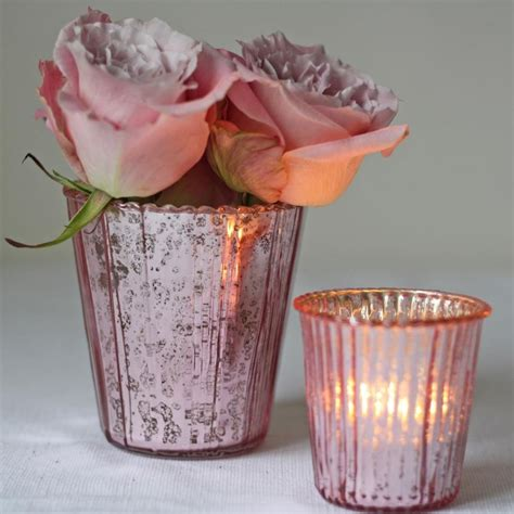 pink glass tea light holders ribbed mercury glass vase or votive pink the wedding of