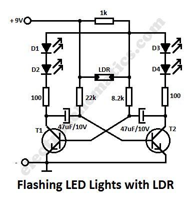 blinking light circuit diagram ldr led circuit