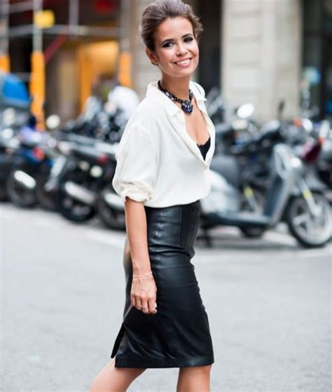 black leather skirt white blouse dress to impress