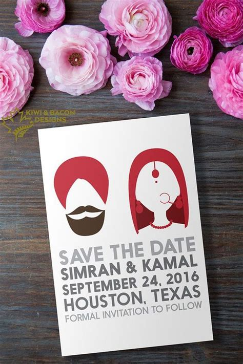 sikh wedding card sle indian sikh punjabi save the date indian silhouette