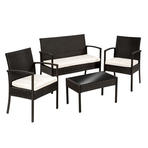 black wicker bench poly rattan garden furniture 2 chairs bench table set