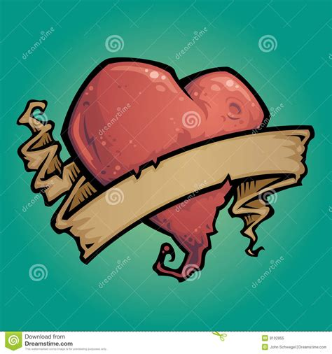 tattoo heart with ribbon royalty free stock photo image