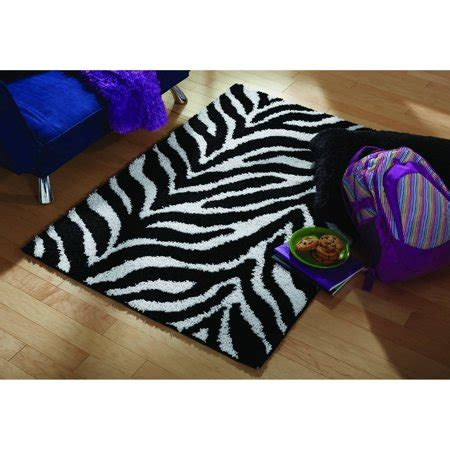 100 0 olefin rug material your zone zebra shag olefin rug black and white walmart