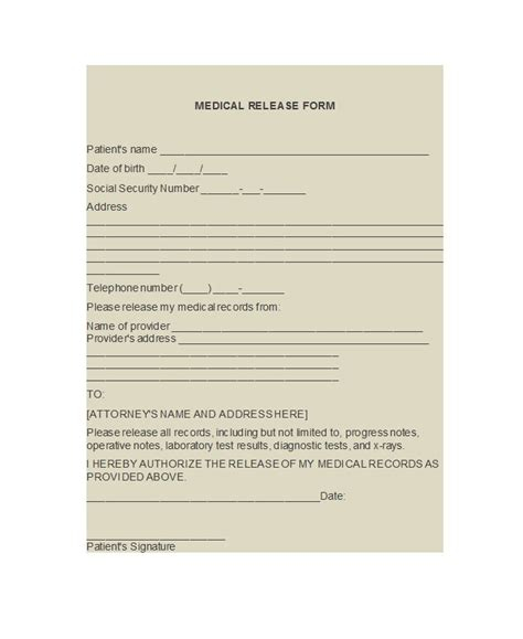 medical release form 30 release form templates free template downloads