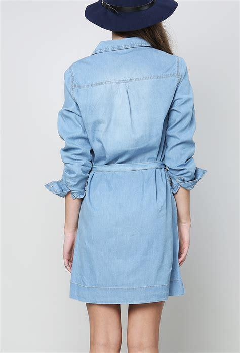 Id 1705 Denim Belted Dress belted denim shirt dress shop at papaya clothing