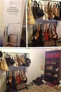 diy creative rolling garment rack turned purse rack