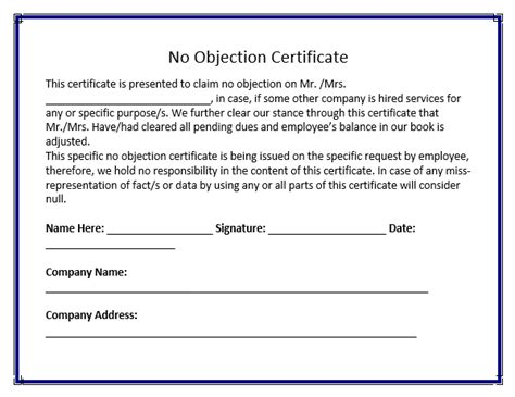sample noc letter from employer no objection certificate sample