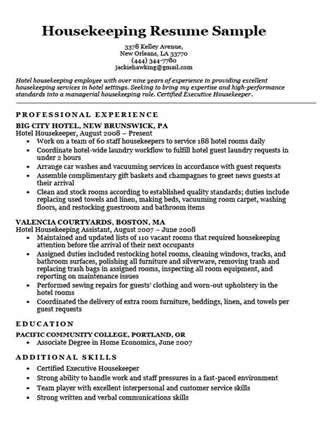 resume templates for housekeeping housekeeping resume sle resume companion