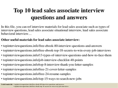 top 10 lead sales associate questions and answers