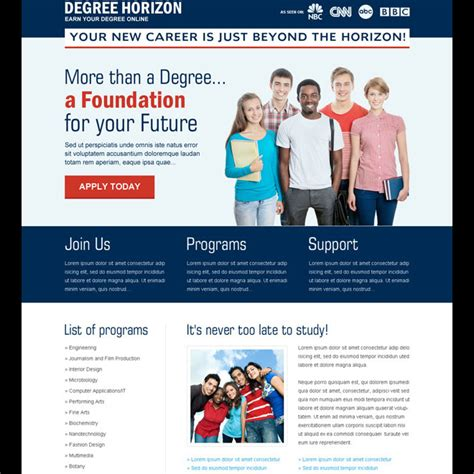Education Landing Page Design Templates To Get The Best Conversion Rate Education Landing Page Templates Free