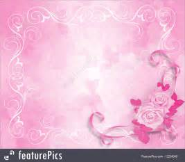 illustration of wedding invitation pink roses