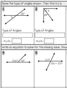 angle addition worksheet equation practice with angle angle properties and equations assessment or practice