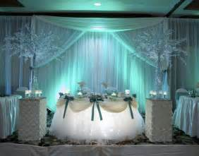 Beautiful arrangements of wedding head table with flowers