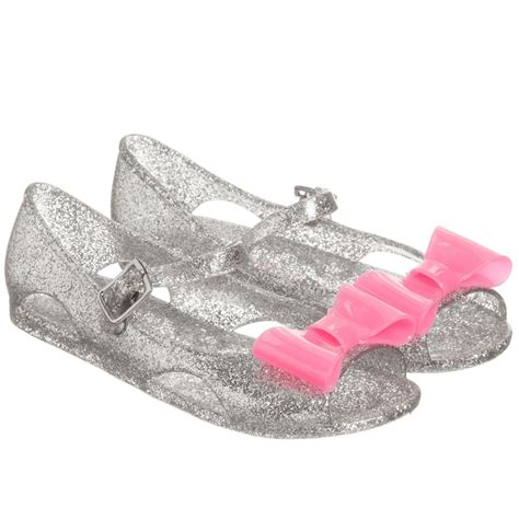 Ban2glosy Jellyshoes Wedges billieblush silver jelly shoes with pink bows childrensalon