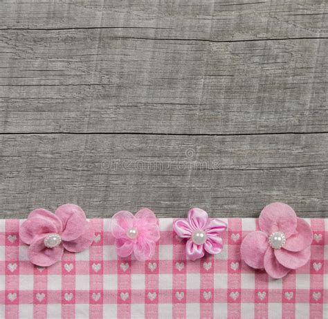 gray shabby chic flowers by four pink handmade flowers on wooden grey shabby chic background stock photo image 48060536