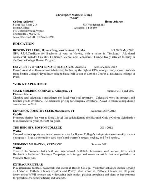 Sle Resume Country Club Server Matthew Belnap Resume