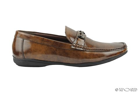 mens brown loafers mens shoes mens vintage hi shine patent leather driving horsebit