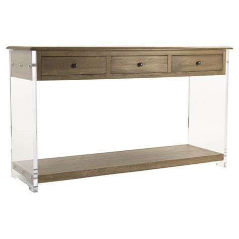 Clear Console Table Canaan Modern Classic Oak Acrylic Console Table Kathy Kuo Home