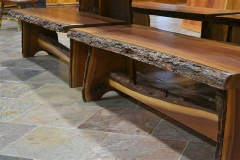 Walnut Live Edge Trestle Base Benches   Corey Morgan