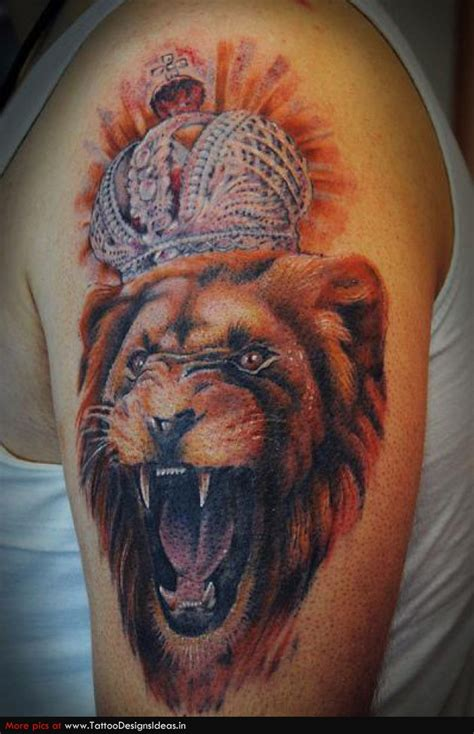 crown lion tattoo pin crowned tattoos on