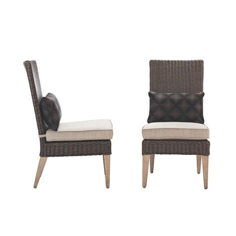 outdoor wicker parson chairs home decorators collection naples brown wicker all weather