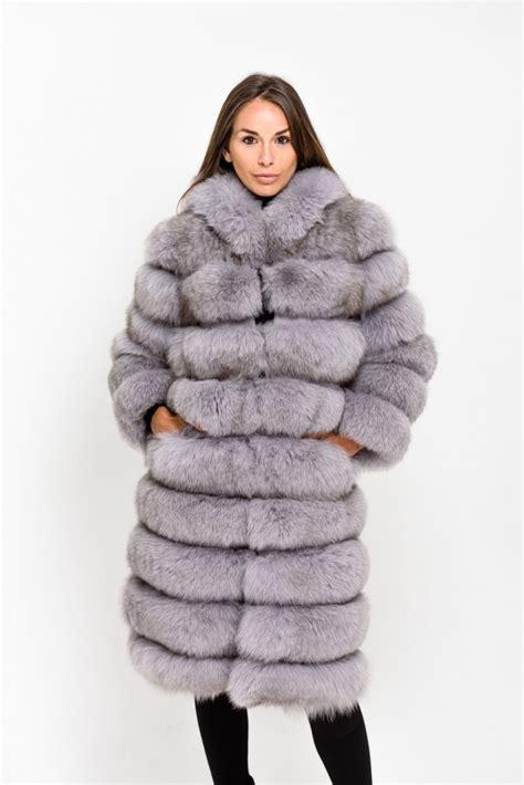 light grey long coat plum raccoon fur gilet posh poms
