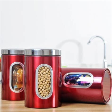 krismile 3pcs stainless steel window canister set with