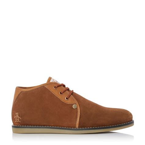 penguin chukka boots original penguin suede lace up chukka boots in brown
