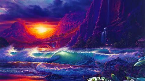 sunset orange sky dark cloud sea waves   sea rocky