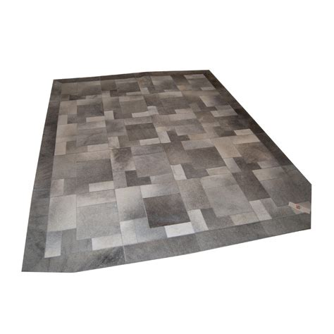 Grey Patchwork Cowhide Rug Cowhide Carpet Rug Light Beige Handmade By Furhome