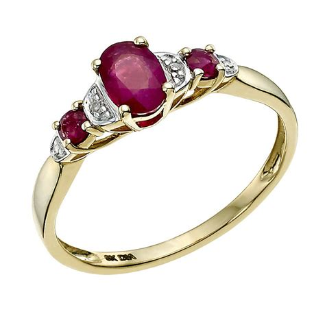 9ct yellow gold treated ruby ring h samuel