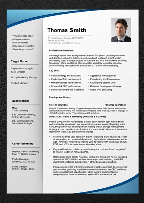 Professional Business Resume Template professional resume template resume cv