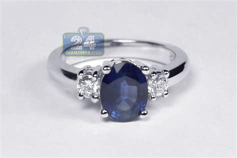 Blue Sapphire 5 24 Ct womens blue sapphire 3 ring 18k white gold 2