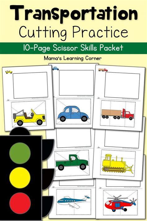 Kindergarten Themes Transportation | cutting practice worksheets transportation cutting