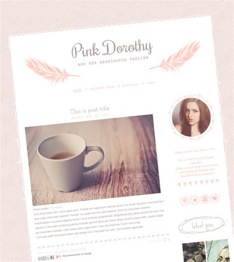 Pink Dorothy Cute And Chic Blogger Template Web Blogger Templates Luvly Chic Website Templates