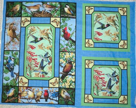 bird fabric 2 pillow panel quilt top wallhang backyard birds and flowers new ebay