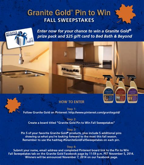 Fall Sweepstakes - granite gold pin to win fall sweepstakes on the house