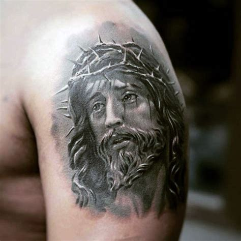 jesus face tattoos 60 jesus arm designs for religious ink ideas