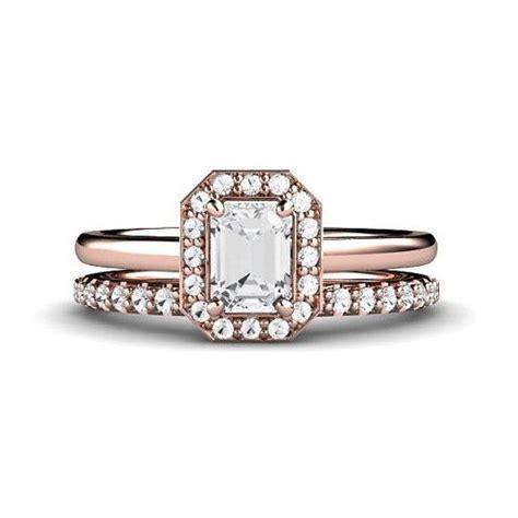 emerald engagement ring wedding set emerald cut